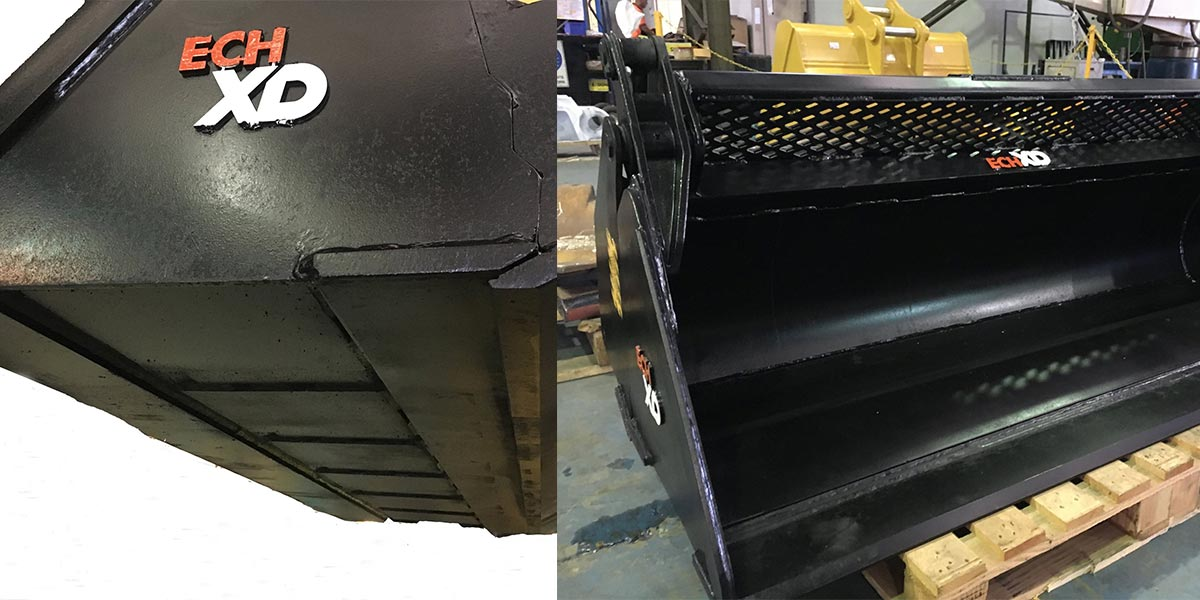 Loader bucket repair - before
